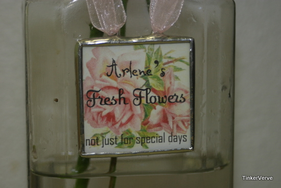 Fresh Flower label for vintage bottle